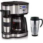 Hamilton Beach Two Way Brewer Single Serve 12 Cup Coffee Maker w/Thermal Travel Mug Bundle : Two way brewer.