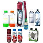 SodaStream Fountain Jet Soda Maker in Blk w/ Exclusive Kit w/ 4 Bottles & Starter Co2, Good size Soda Stream – will even accept the super